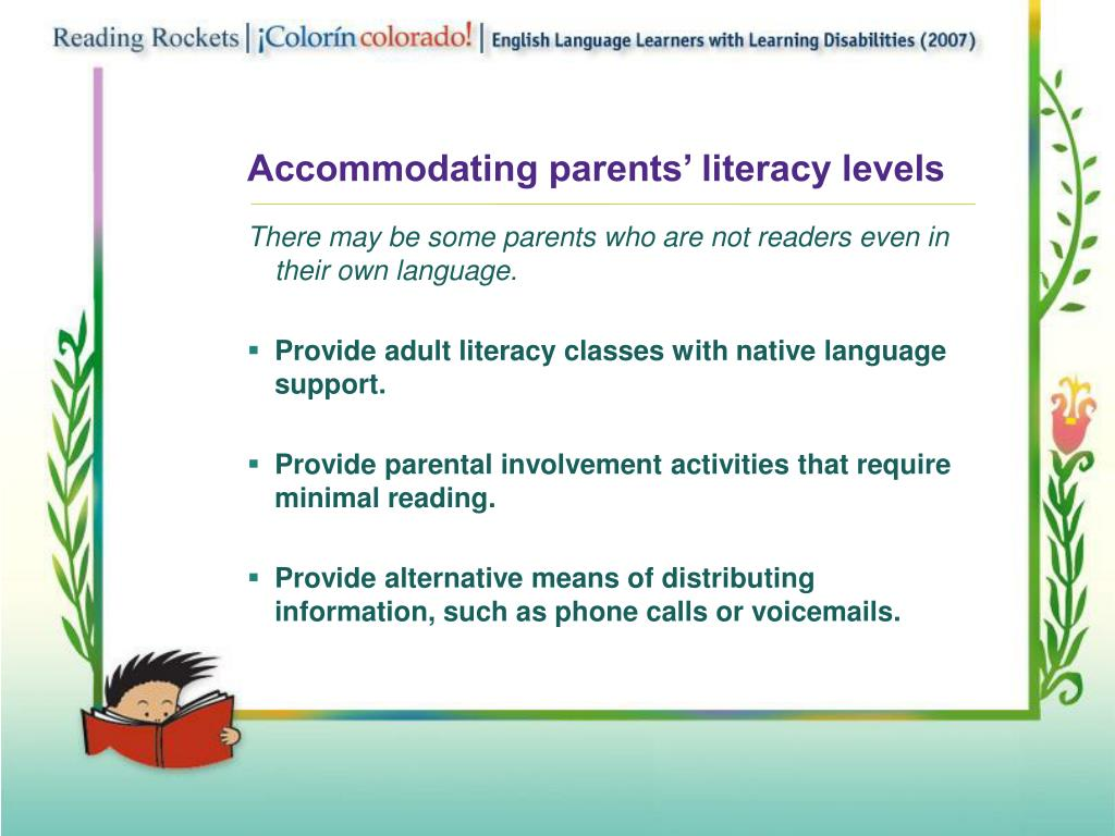 Accommodating parents' literacy levels