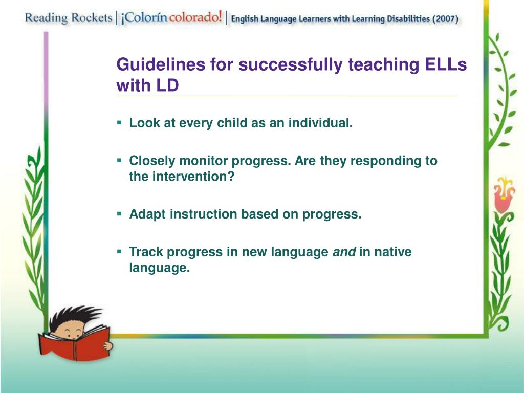 Guidelines for successfully teaching ELLs with LD