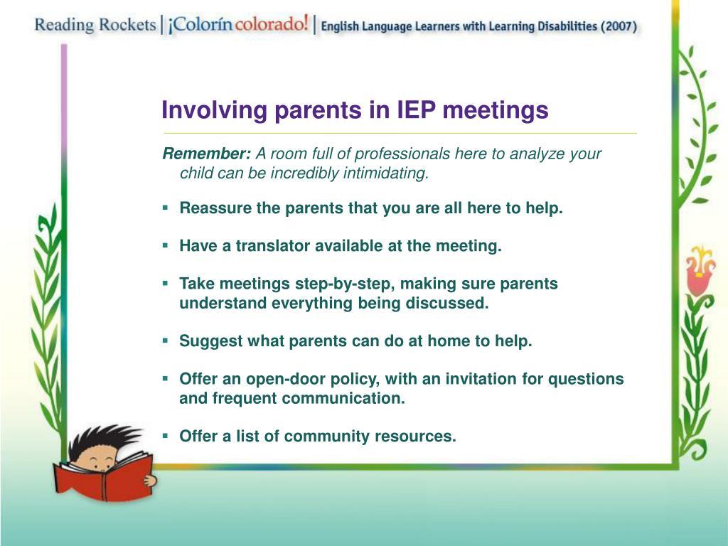 Involving parents in IEP meetings