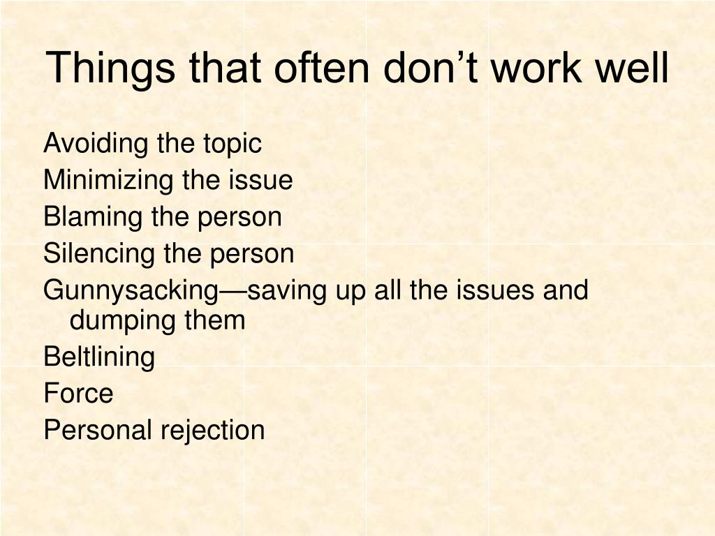 Things that often don't work well