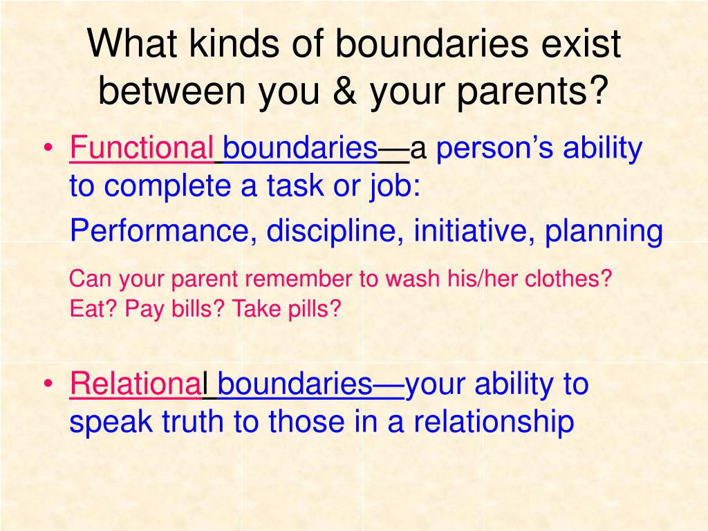 What kinds of boundaries exist between you & your parents?