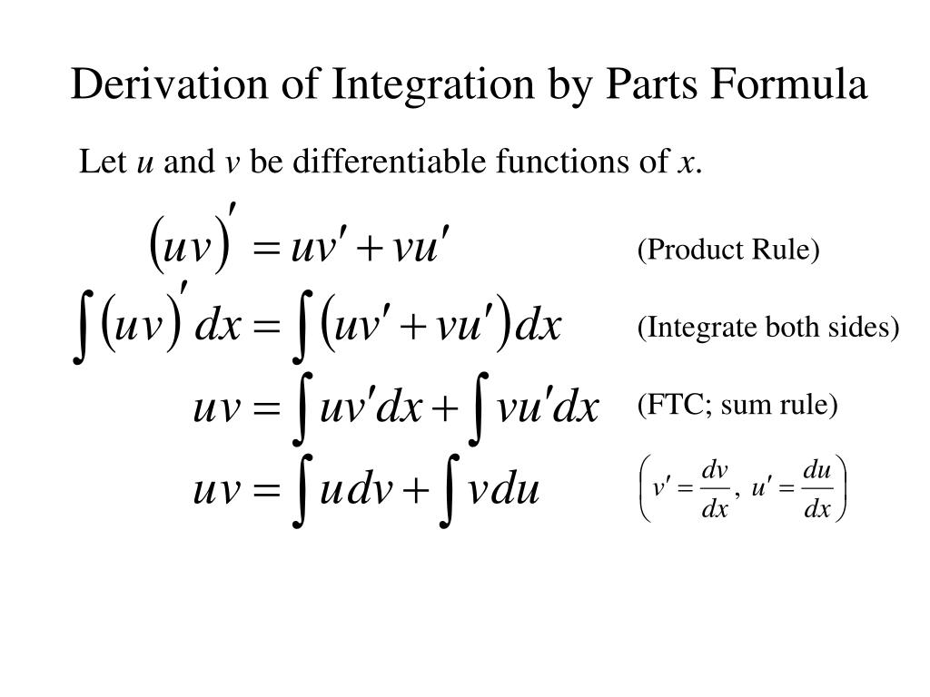 Derivation of Integration by Parts Formula