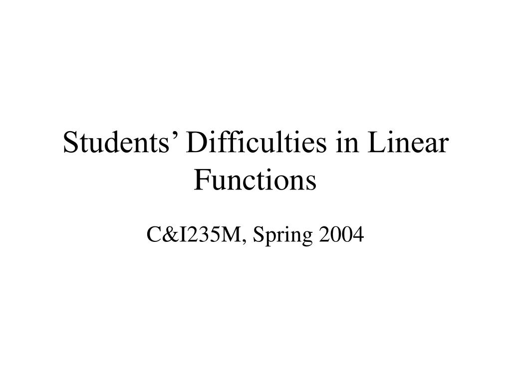 Students' Difficulties in Linear Functions