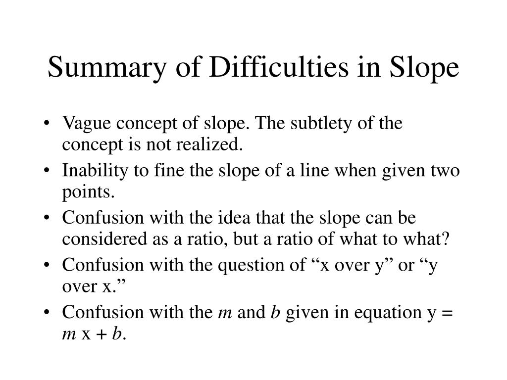 Summary of Difficulties in Slope