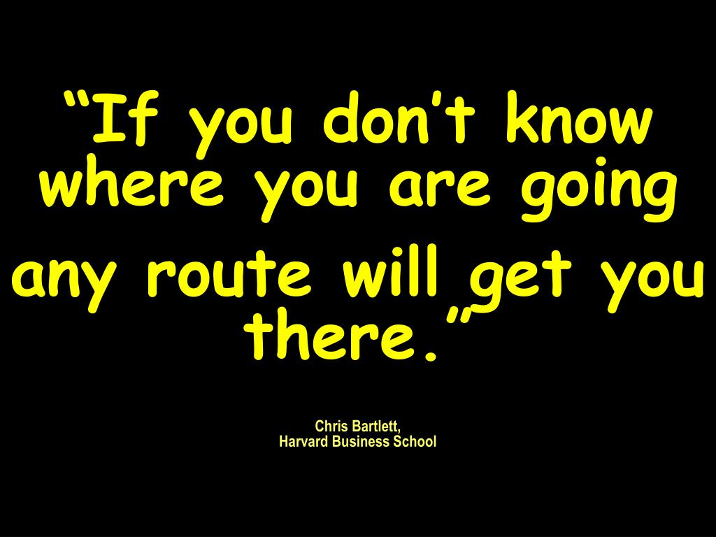 """""""If you don't know where you are going"""