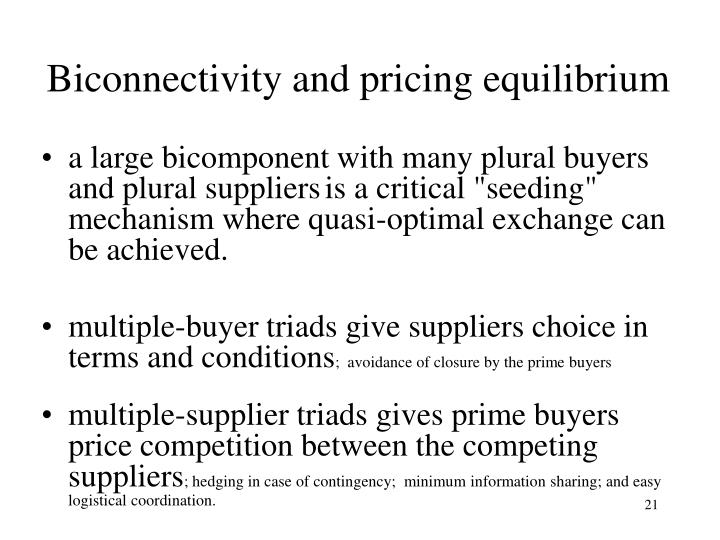 Biconnectivity and pricing equilibrium