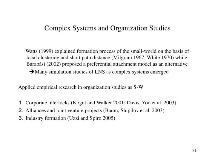 Complex Systems and Organization Studies