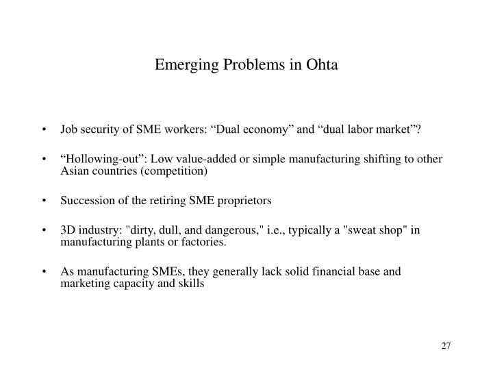 Emerging Problems in Ohta