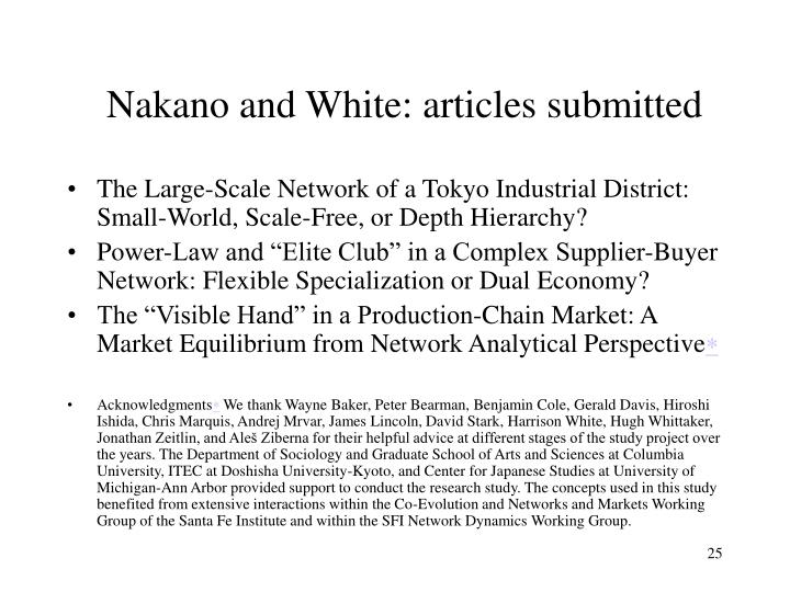 Nakano and White: articles submitted