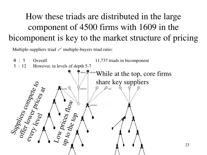How these triads are distributed in the large component of 4500 firms with 1609 in the bicomponent is key to the market structure of pricing