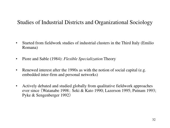 Studies of Industrial Districts and Organizational Sociology