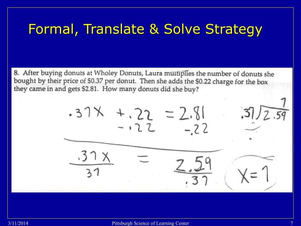 Formal, Translate & Solve Strategy