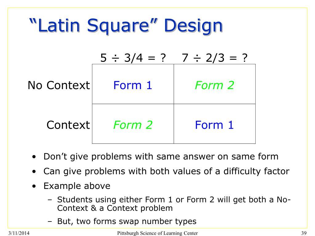 """""""Latin Square"""" Design"""