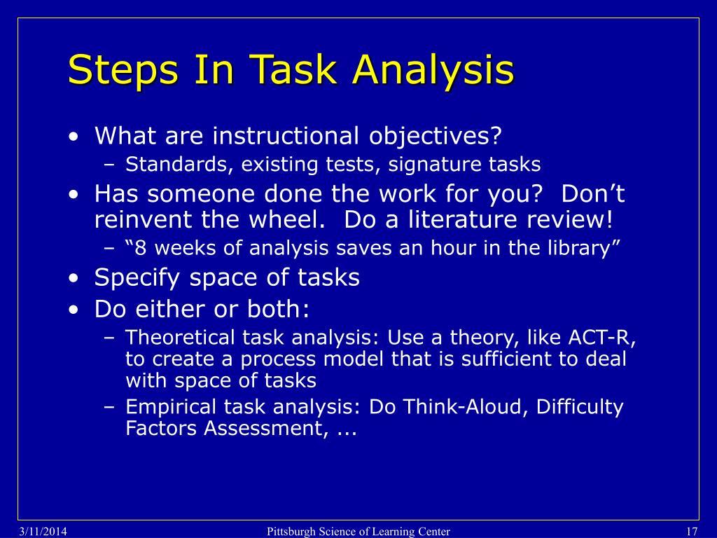 Steps In Task Analysis