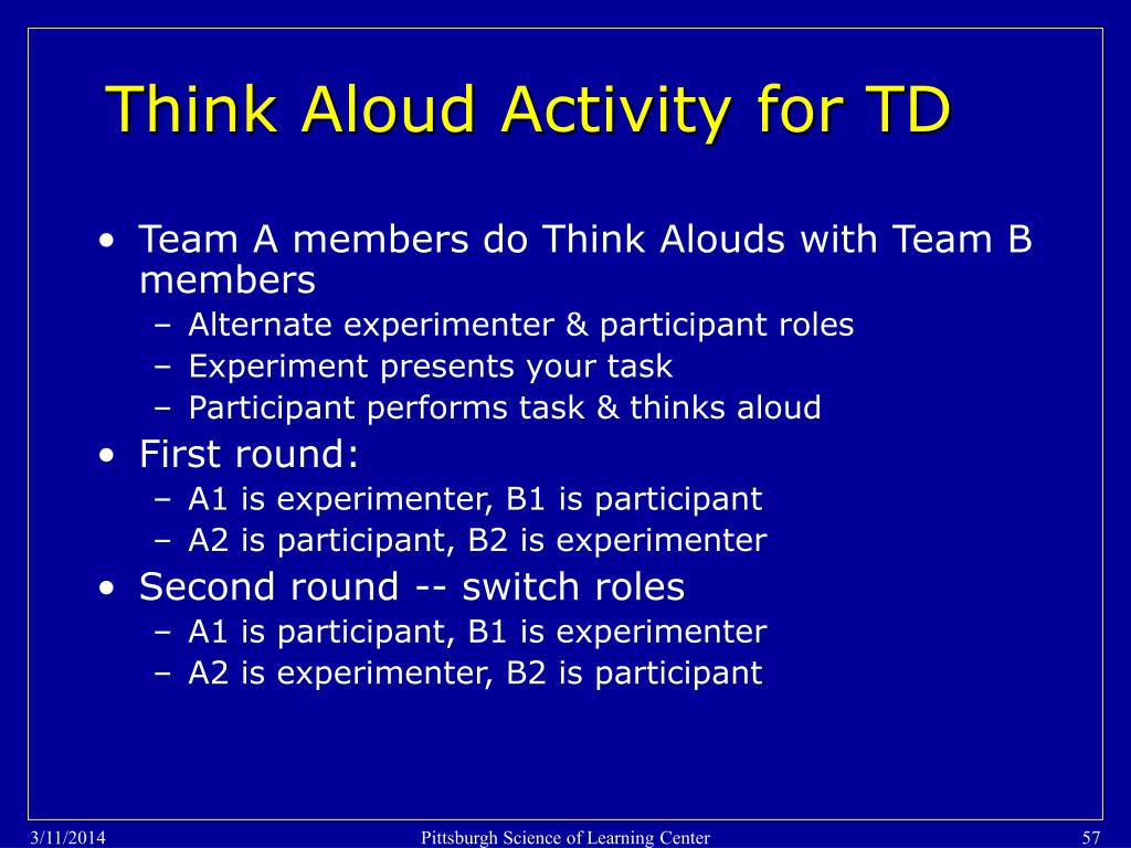 Think Aloud Activity for TD