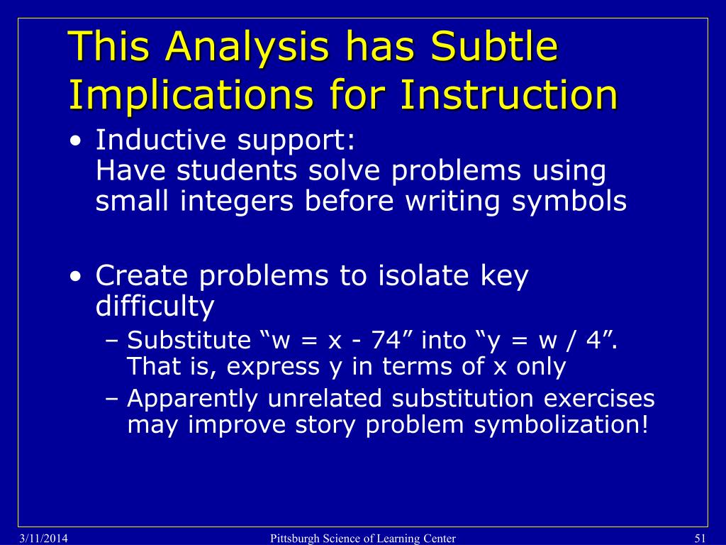 This Analysis has Subtle Implications for Instruction