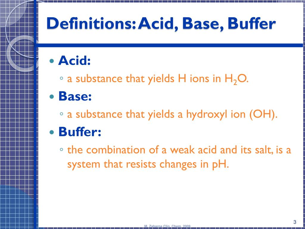 acid base buffers The term buffer capacity is an alternative means of expressing the ability of a buffer system to absorb the addition of strong acid or base without causing the ph to deviate by more than one unit from that of the pure buffer.