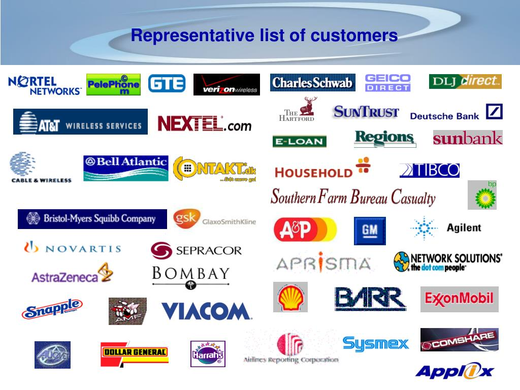 Representative list of customers