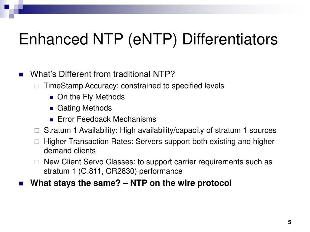 Enhanced NTP (eNTP) Differentiators
