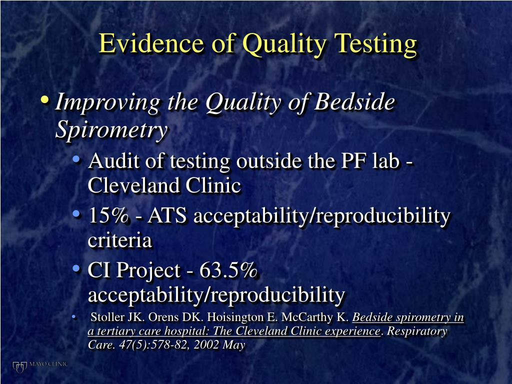 Evidence of Quality Testing