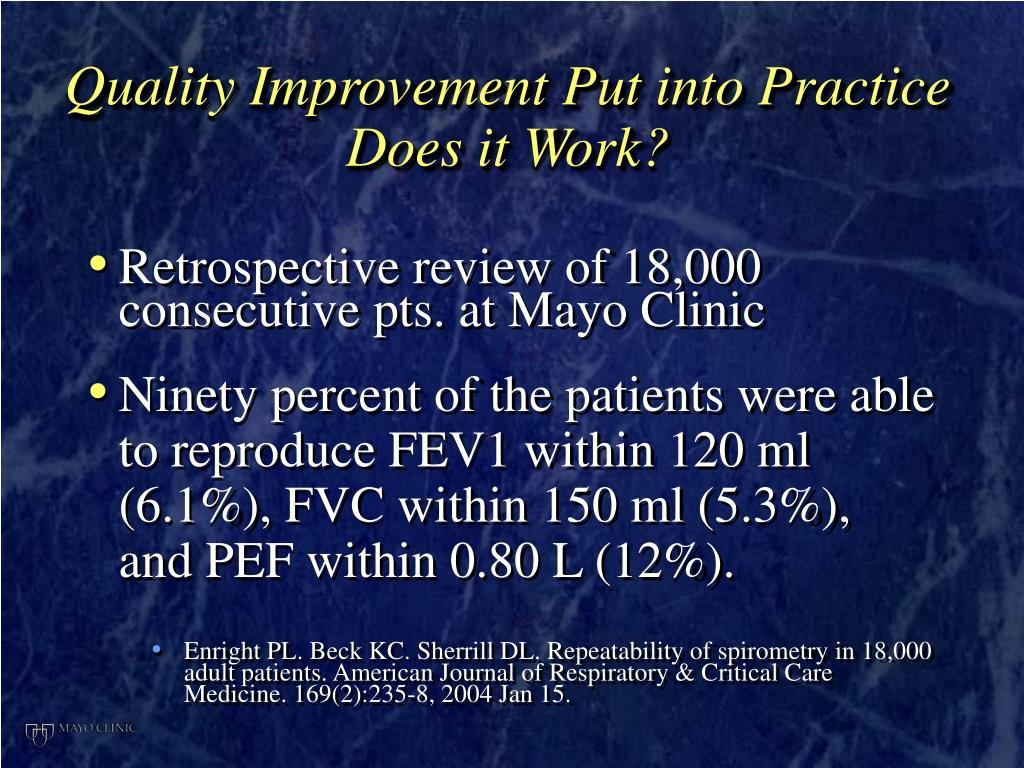 Quality Improvement Put into Practice Does it Work?