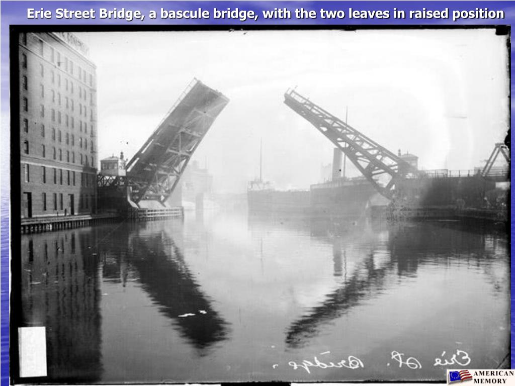 Erie Street Bridge, a bascule bridge, with the two leaves in raised position