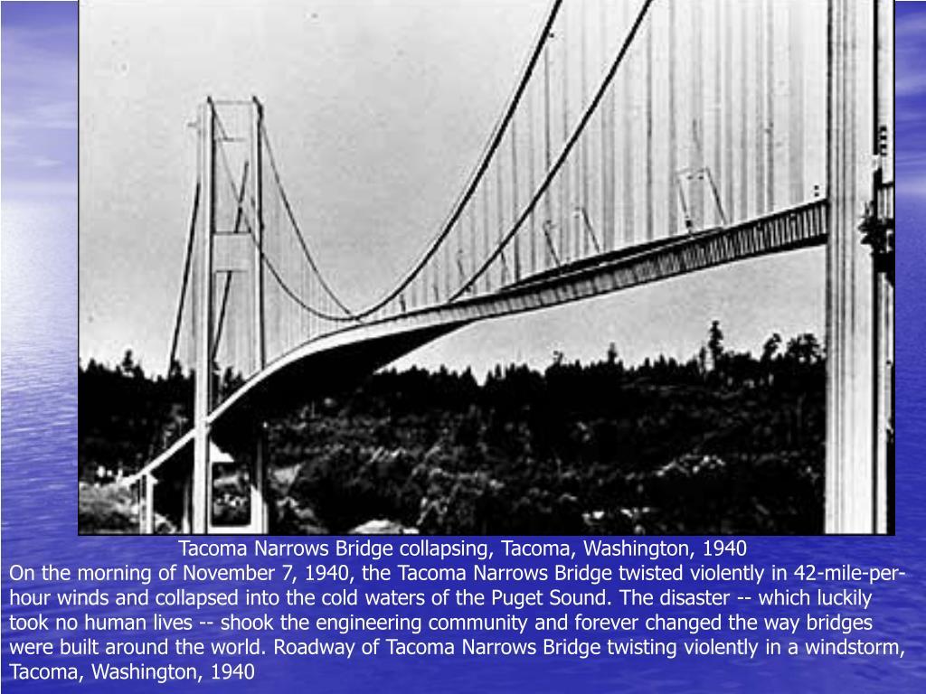 Tacoma Narrows Bridge collapsing, Tacoma, Washington, 1940