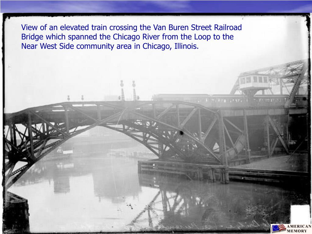 View of an elevated train crossing the Van Buren Street Railroad Bridge which spanned the Chicago River from the Loop to the Near West Side community area in Chicago, Illinois.