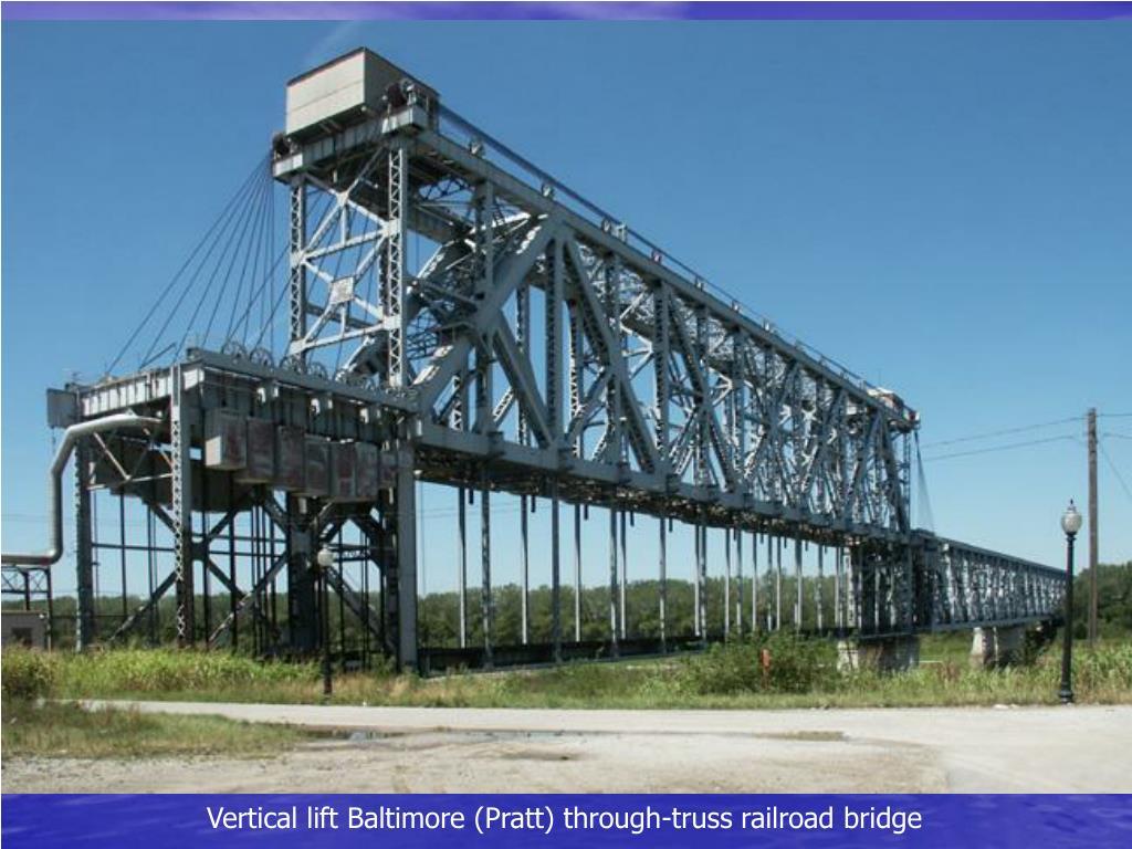 Vertical lift Baltimore (Pratt) through-truss railroad bridge