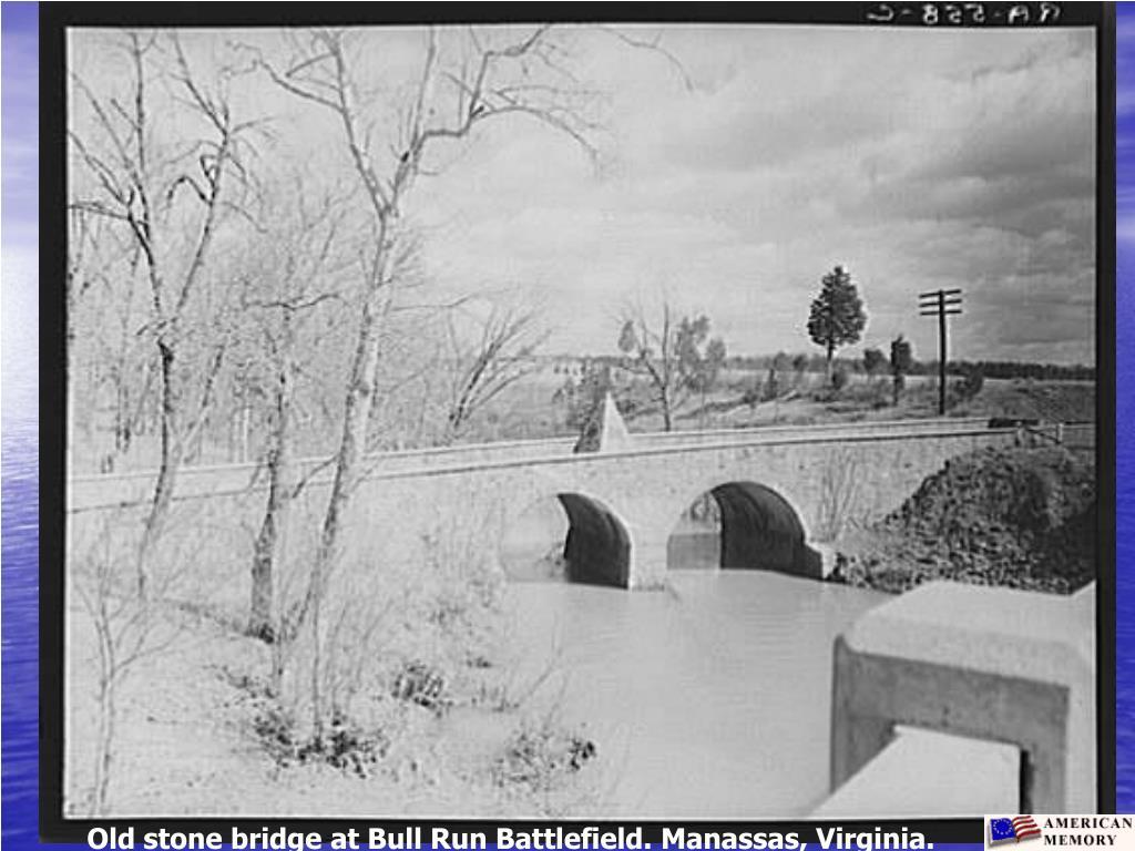 Old stone bridge at Bull Run Battlefield. Manassas, Virginia.