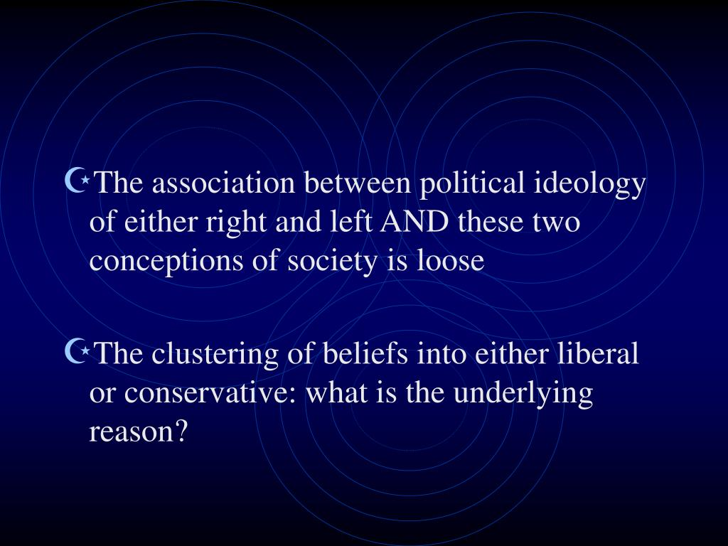 The association between political ideology of either right and left AND these two conceptions of society is loose
