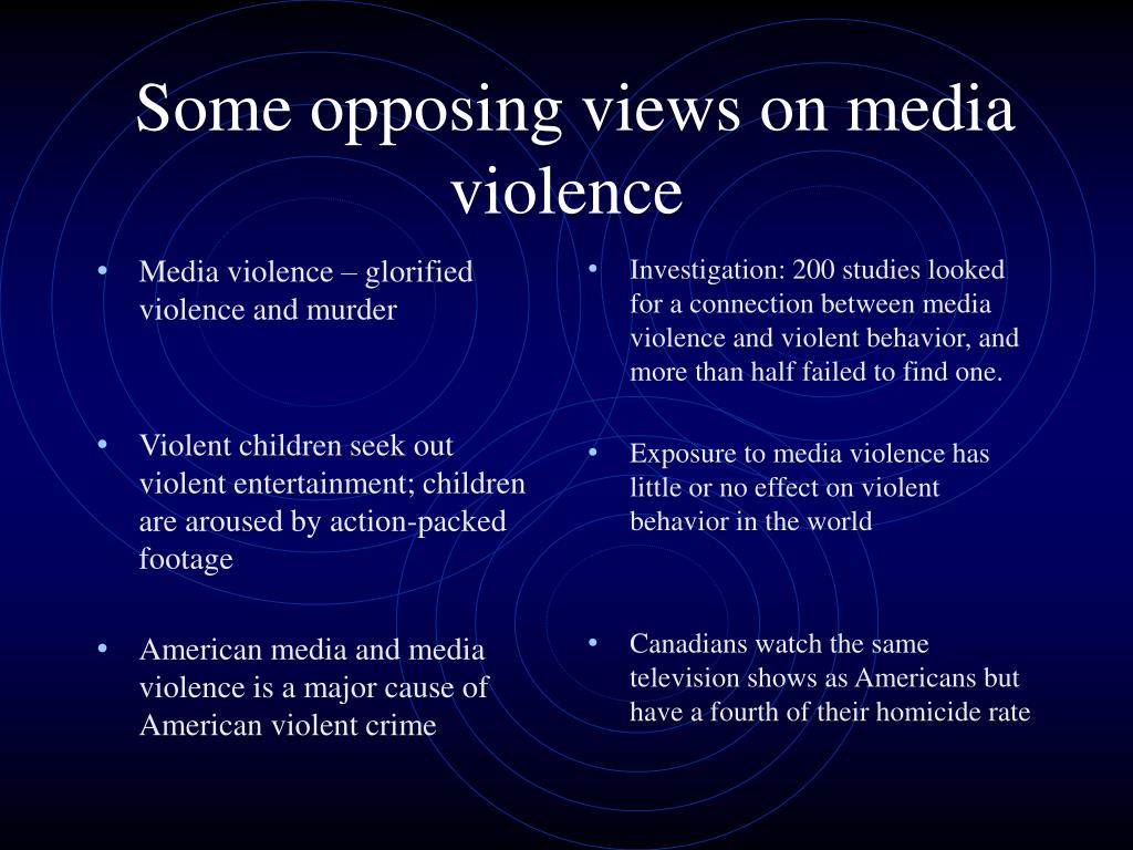 Media violence – glorified violence and murder