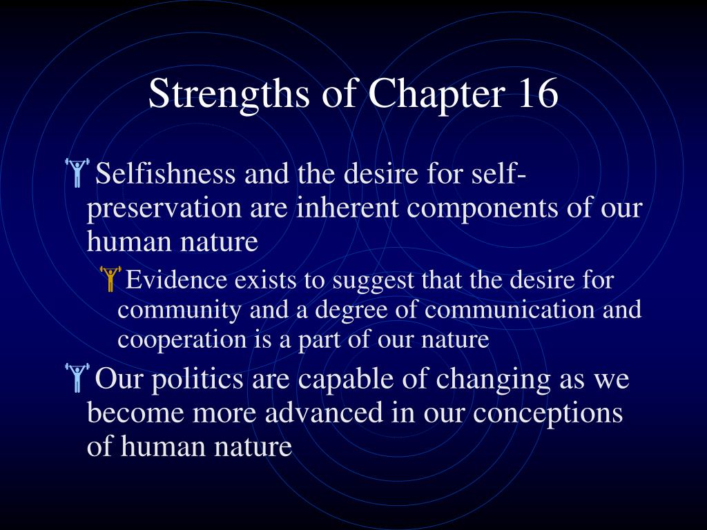 Strengths of Chapter 16