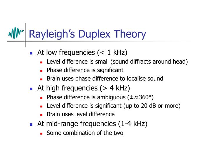 Rayleigh's Duplex Theory