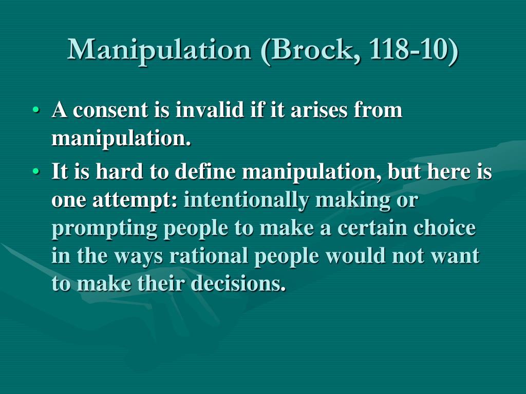 Manipulation (Brock, 118-10)