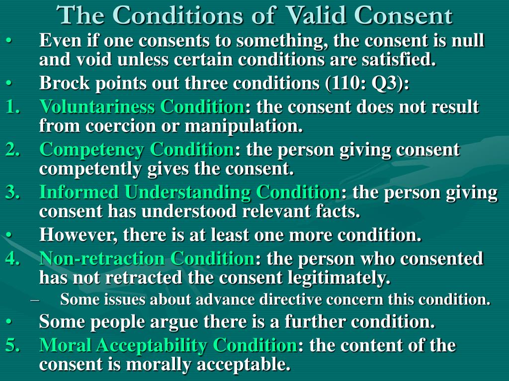 The Conditions of Valid Consent