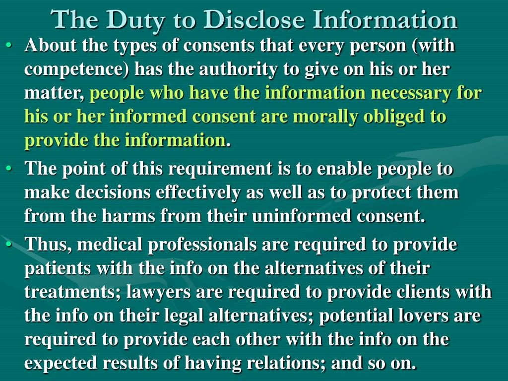 The Duty to Disclose Information