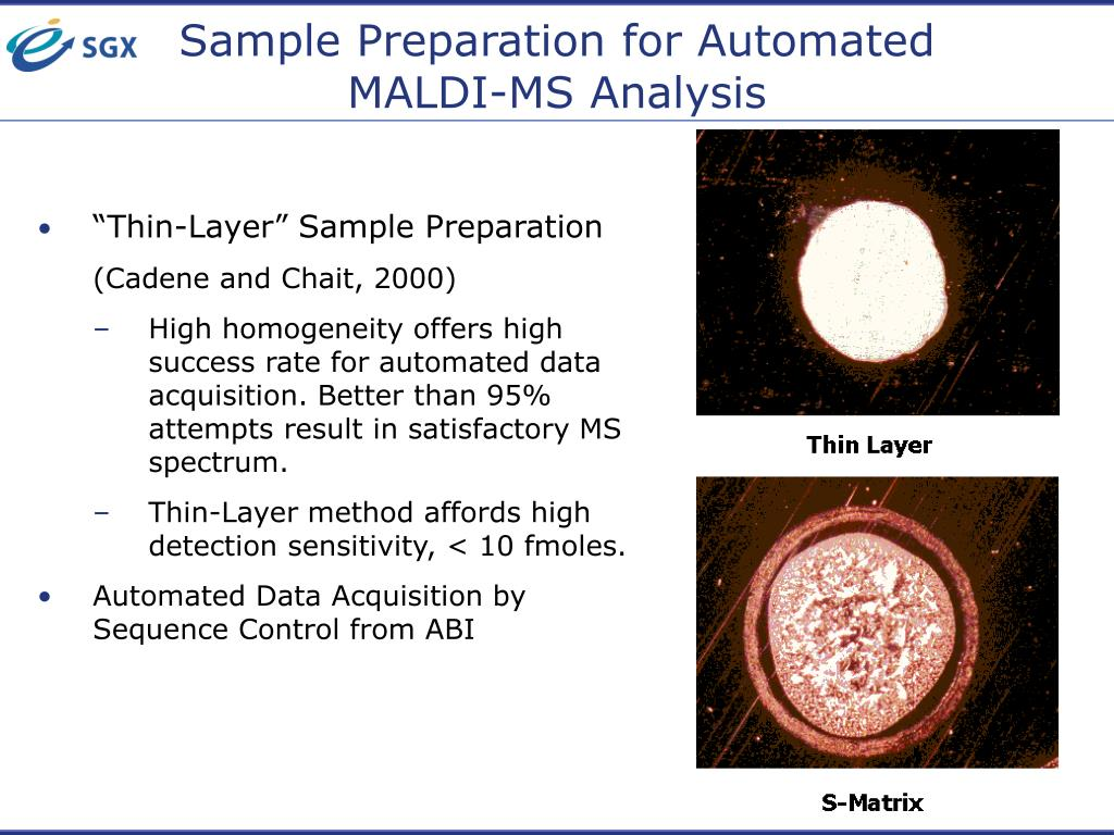 Sample Preparation for Automated MALDI-MS Analysis