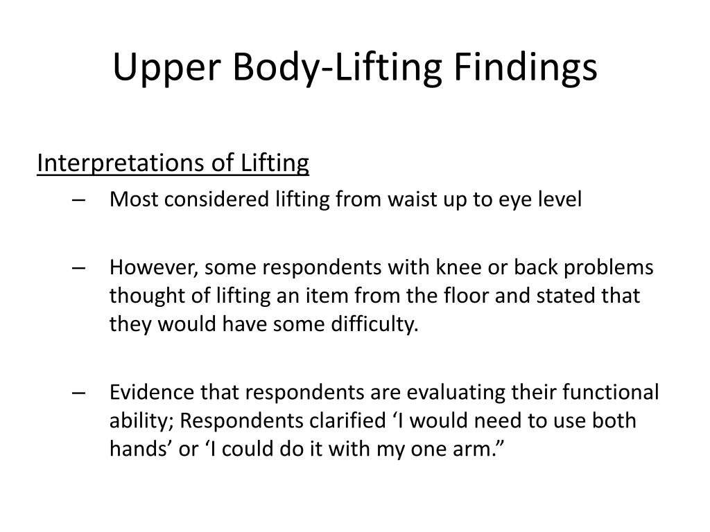 Upper Body-Lifting Findings