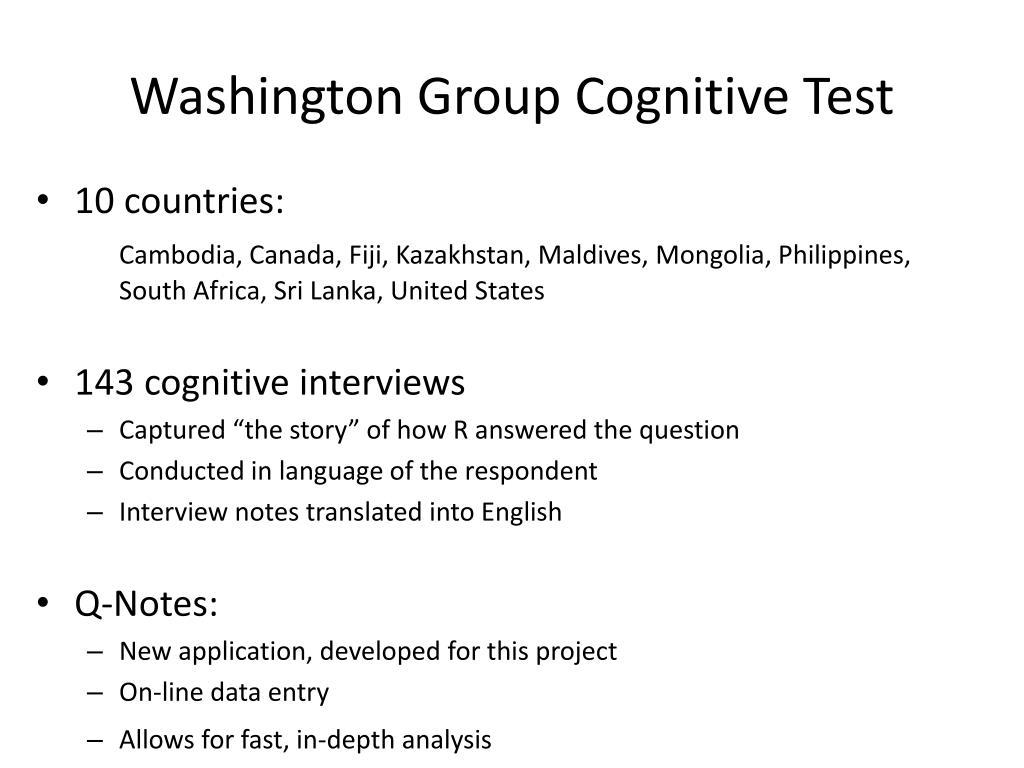 Washington Group Cognitive Test