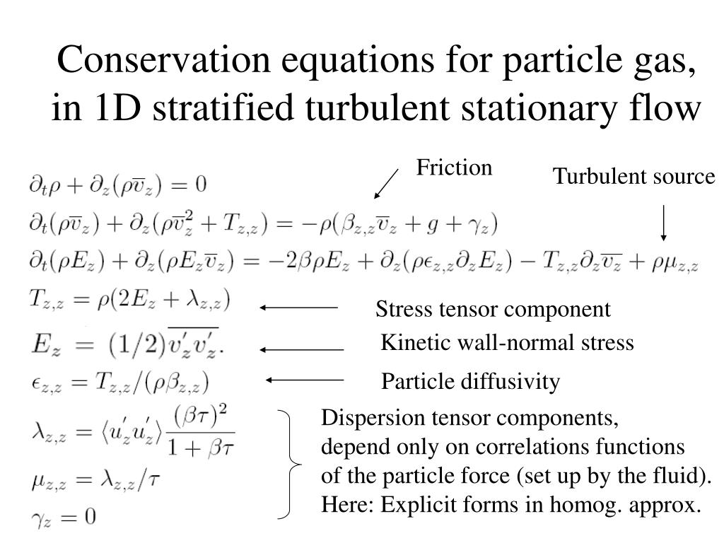 Conservation equations for particle gas,