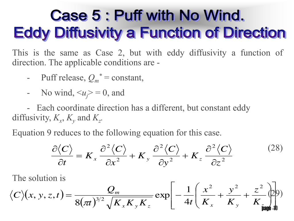 This is the same as Case 2, but with eddy diffusivity a function of direction. The applicable conditions are -