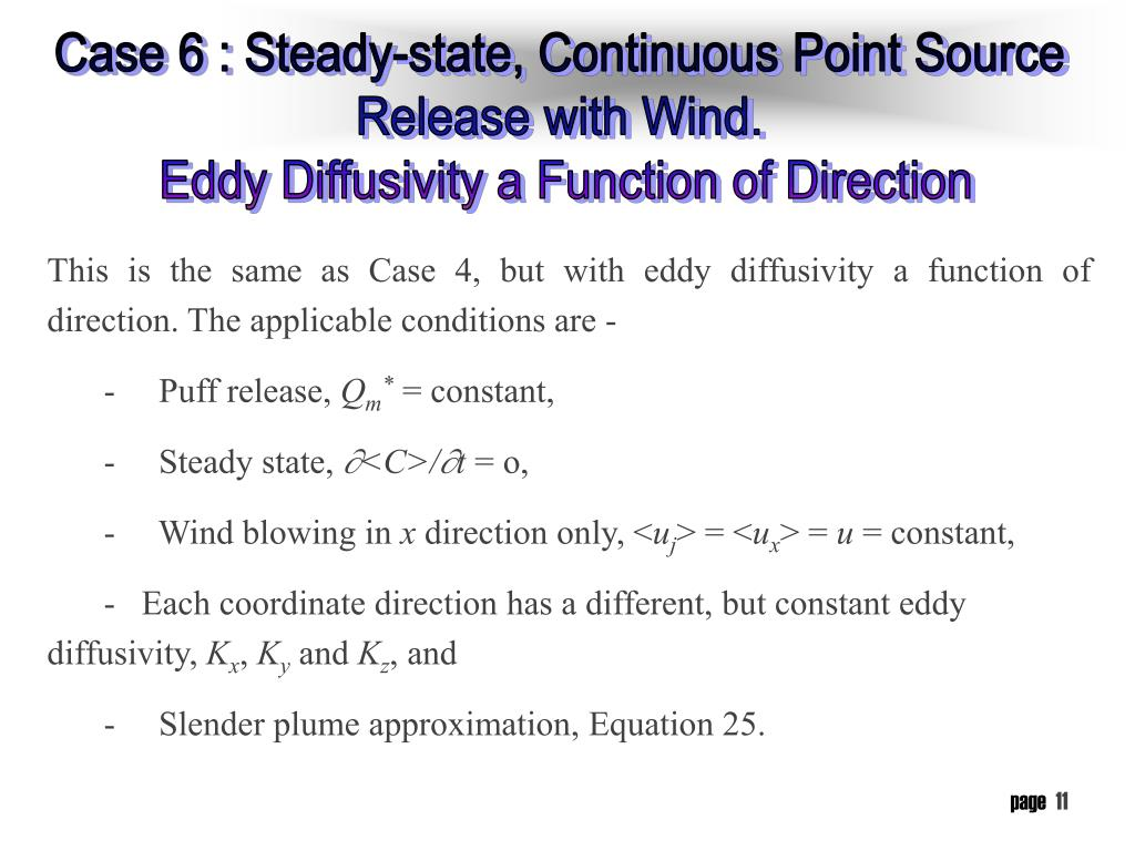 Case 6 : Steady-state, Continuous Point Source