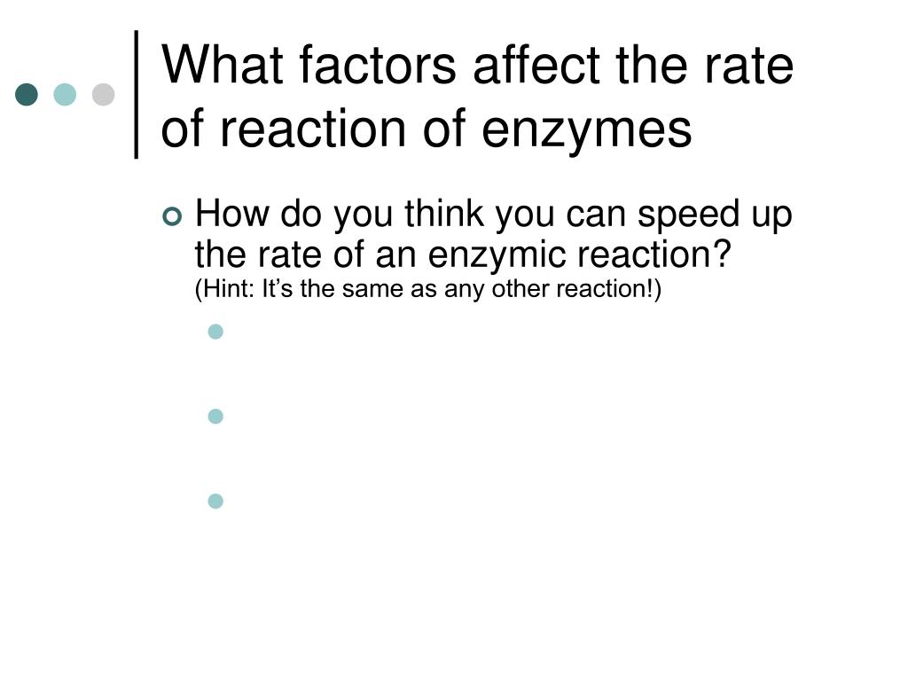 What factors affect the rate of reaction of enzymes