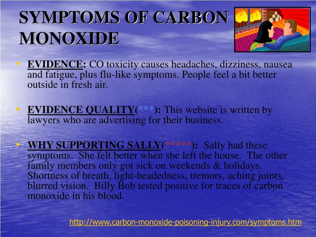 SYMPTOMS OF CARBON MONOXIDE