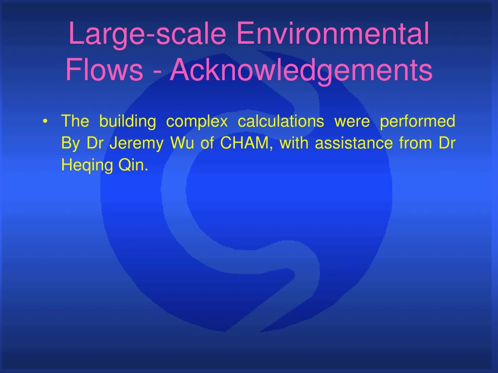Large-scale Environmental Flows - Acknowledgements