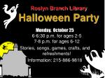 roslyn branch library halloween party
