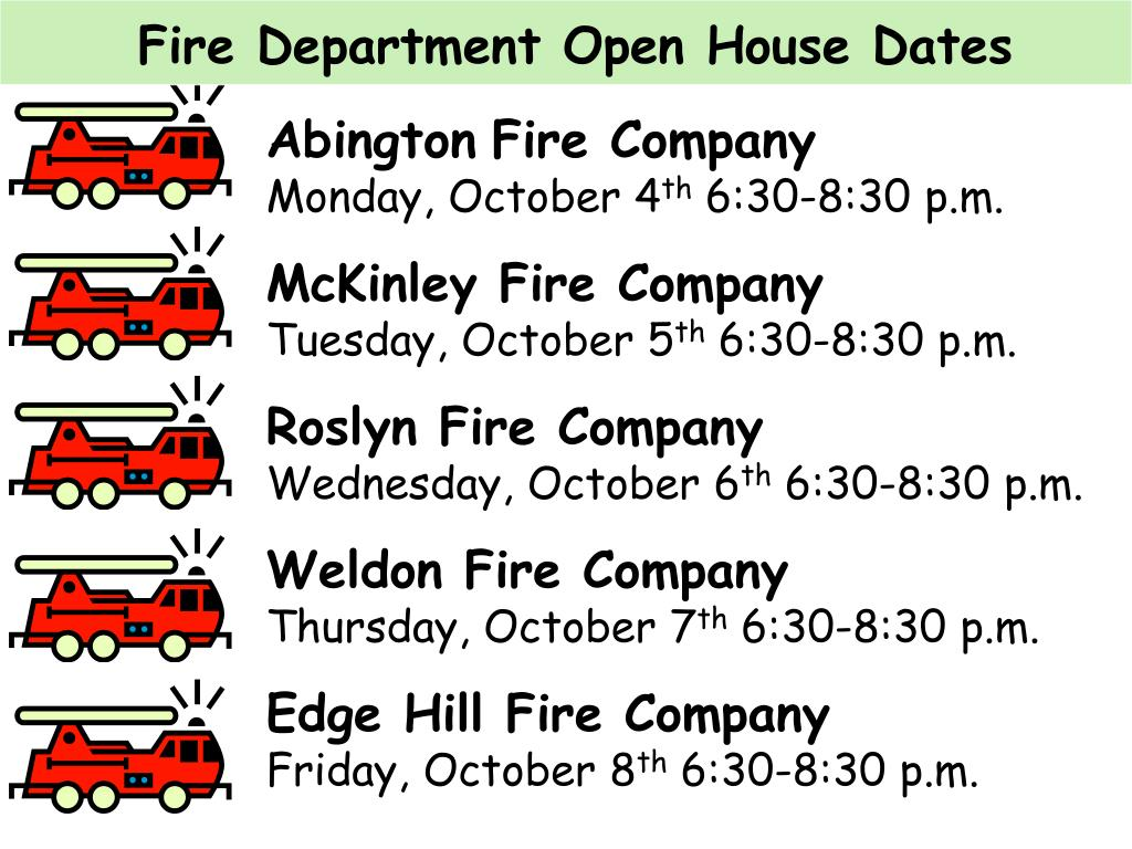 Fire Department Open House Dates