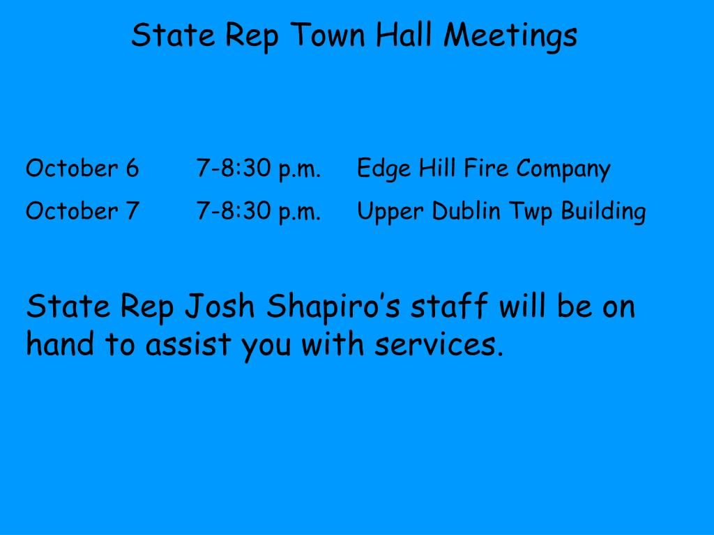 State Rep Town Hall Meetings
