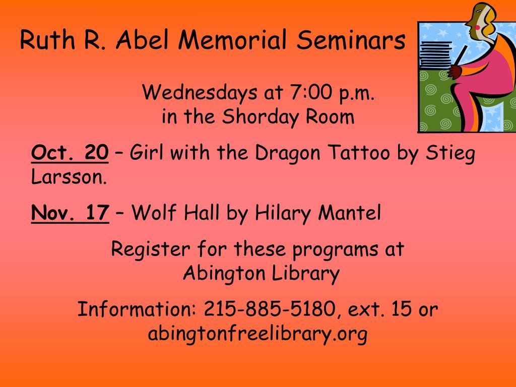 Ruth R. Abel Memorial Seminars